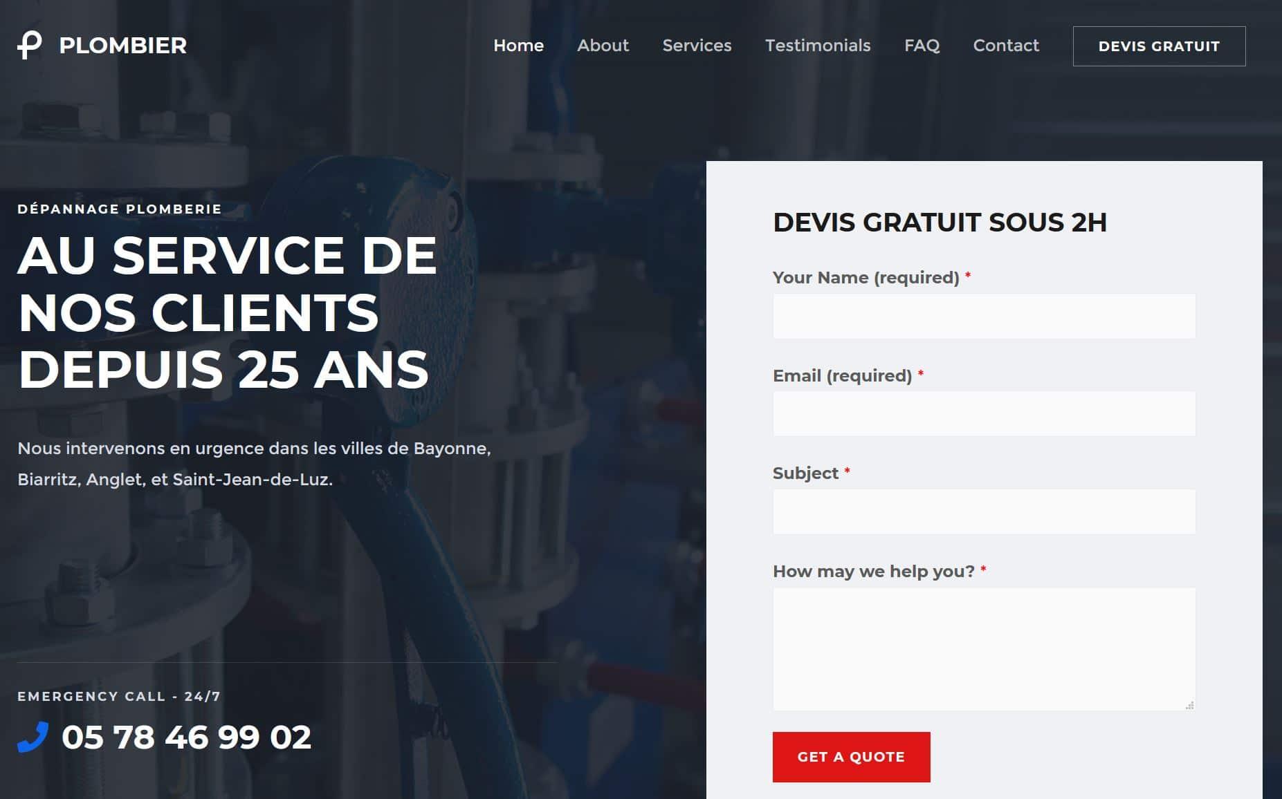 Site Internet Plombier Biarritz