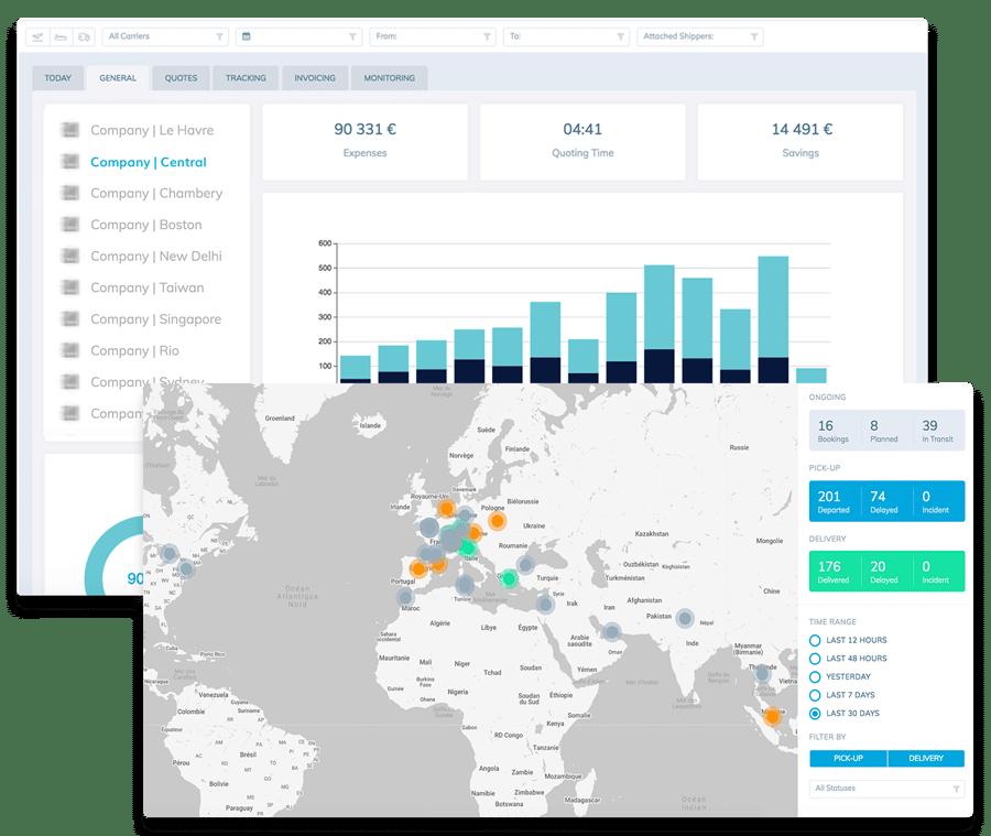 Shiptify : digitalisation de leur supply chain avec la TMP transport management platform visualisation